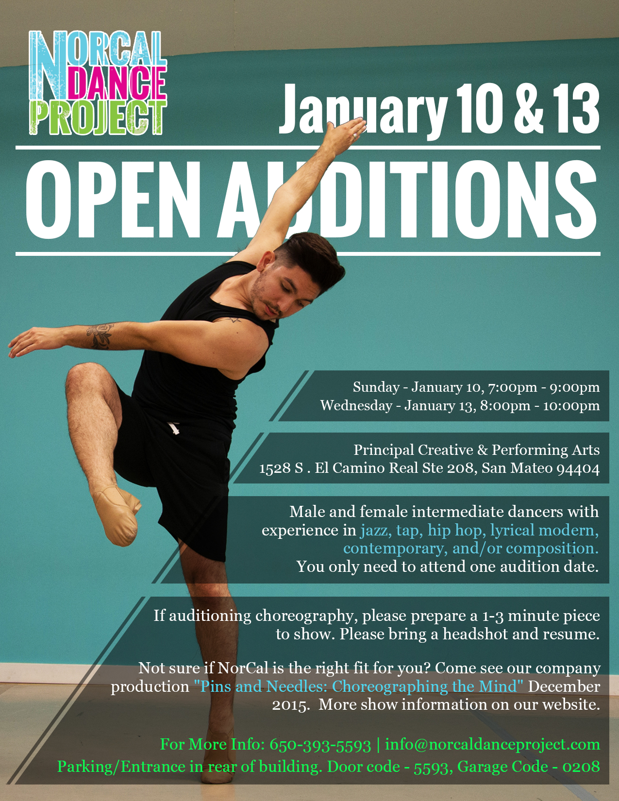Dance Auditions For NorCal Dance Project - January 10 & 13, 2015